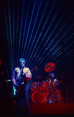 Peter Erskine - Wayne Shorter, (left) and Peter Erskine (right) performing with Weather Report (1981)