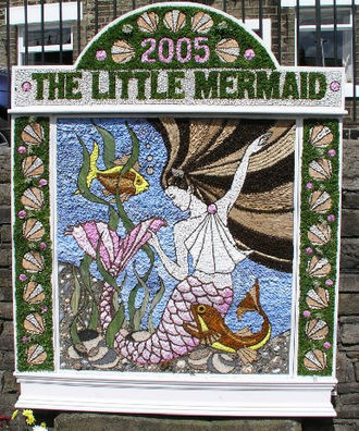 Hayfield - A Well Dressing at the bottom of Kinder Road, Hayfield