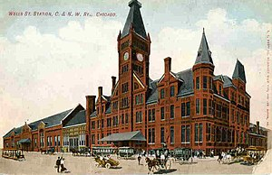 Wells Street Station - Postcard view ca. 1910