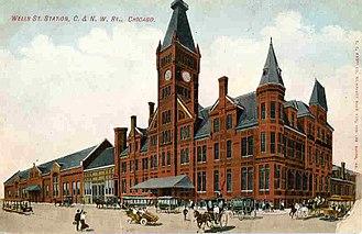 Wells Street Station - Postcard view ca. 1910