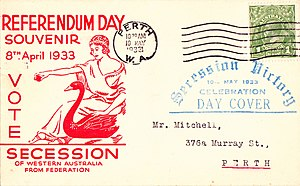Western Australian secession referendum, 1933 - A souvenir envelope of the victory celebration