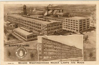 Westinghouse Lamp Plant - Postcard circa 1905 of Westinghouse plant in Bloomfield, New Jersey that manufactured Mazda lamps