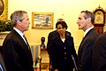 White House Oval Office meeting- President George W. Bush, NSA Advisor Condoleeza Rice, Ambassador Martin J. Silverstein.jpg