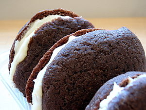 Whoopie pies on their side.