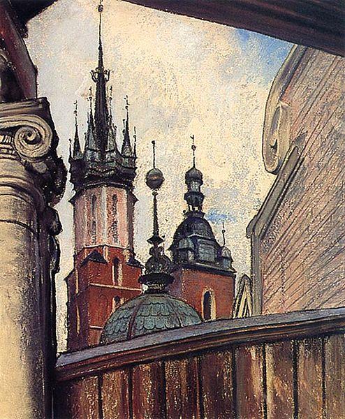 Pastel de Wyspianski illustrant la basilique Sainte Marie de Cracovie à laKamienica Szolayskich à Cracovie.