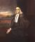 Plenlonga sesila portreto de la maljuna William Stoughton. Stoughton Hall de Harvard College estas videbla en la fono.