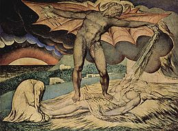 Illustrazioni del Libro di Giobbe da parte del pittore William Blake: Satana infligge le piaghe a Giobbe (Tate Britain, Londra)