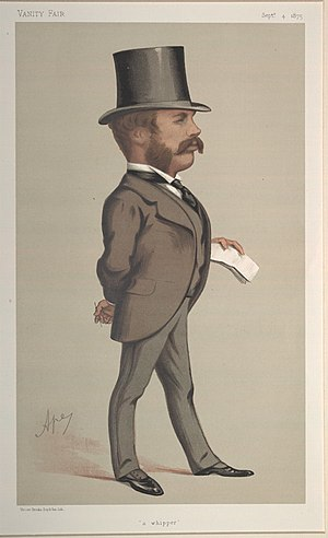 "Sir William Hart Dyke, 7th Baronet - ""A whipper"". Caricature by Ape published in Vanity Fair in 1875."