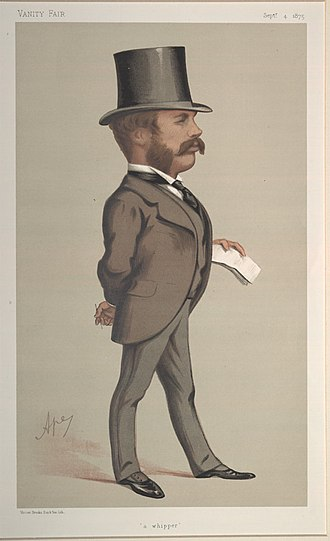 """Sir William Hart Dyke, 7th Baronet - """"A whipper"""". Caricature by Ape published in Vanity Fair in 1875."""