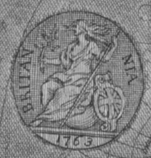 History of the halfpenny - Hogarth engraved this Britannia emblem with a possibly similar appearance to that of the later coins when he retouched one of his plates.