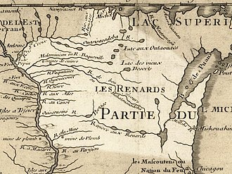 Wisconsin - Wisconsin in 1718, Guillaume de L'Isle map, approximate state area highlighted.