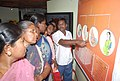 Women getting clarifications at the exhibition in the Red Ribbon Express which arrived at Madurai Railway Junction, in Tamil Nadu on March 18, 2010.jpg
