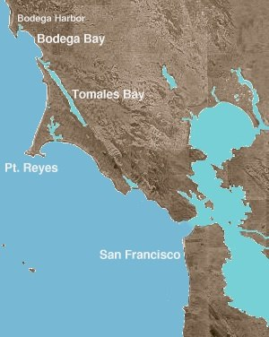 Bodega Bay - Location of Bodega Bay and Bodega Harbor