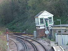 Photograph showing Bopeep Junction, with the signalbox at centre right.