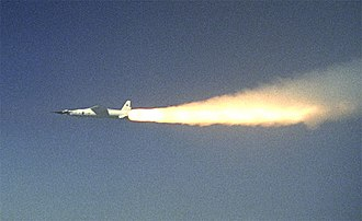 NASA X-43 - Pegasus rocket booster accelerating NASA's X-43A shortly after ignition during test flight (March 27, 2004)