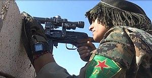 Raqqa campaign (2016–2017) - Image: YPJ sniper Raqqa (November 2016)