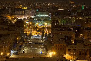Tamanyan Street - Image: Yerevan skyline at night