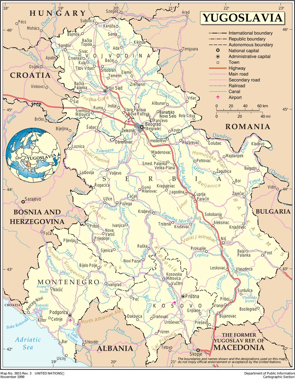 Yugoslavia 1999 UN map