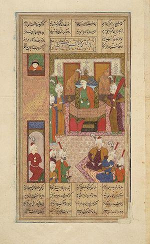 Zahhak - Persian painting, depicting Zahak ascending on the royal throne.