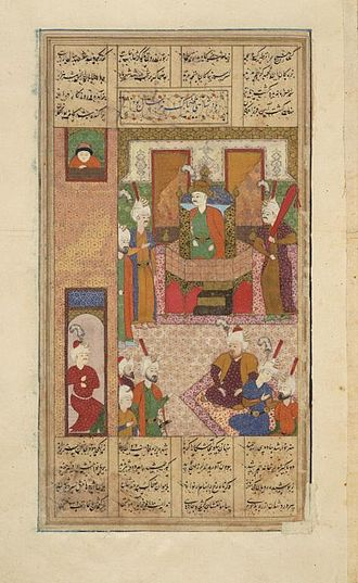 Zahhak - Persian painting, depicting Zahak ascending on the royal throne.