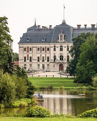 Pszczyna Castle - Pszczyna Palace seen from the lake