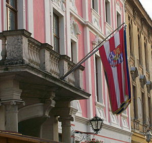 Varaždin County - County flag on County Palace in Varaždin
