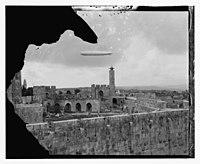 Zeppelin over Tower of David. LOC matpc.13812.jpg