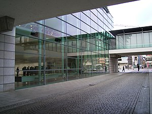 Zeppelin Museum Friedrichshafen - Rear view of the Zeppelin Museum. The glass wall and twin elevated walkways are later additions to the Hafenbahnhof.