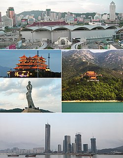 Clockwise from the top: The Gongbei Port of Entry and Portas do Cerco at the border of Zhuhai and Macau, Jintai Temple, Meixi Royal Stone Archways, statue of Fisher Girl, & Deyuefang Restaurant on Yeli Dao.