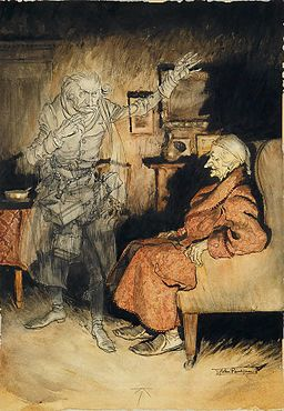 'Scrooge and the Ghost of Marley' by Arthur Rackham