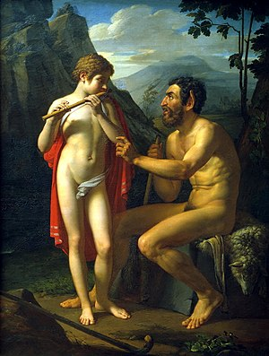 Pyotr Basin - Marsyas Teaches Young Olympus to Play the Flute (1821)