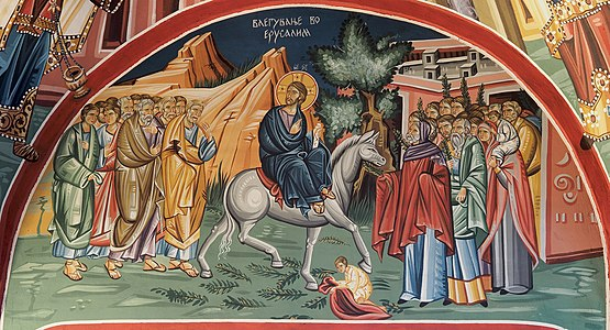 Church fresco - Triumphal entry into Jerusalem