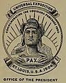 """Universal Exposition Commemorating the Louisiana Purchase 1803"" ""Office of the President"" ""PAX"" art - Official catalogue of exhibitors (IA officialcatalogu01stlo) (page 12 crop).jpg"