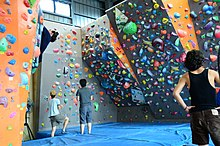 An indoor bouldering gym