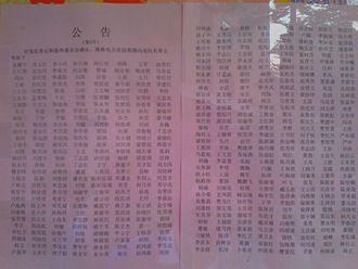 Elections in China - A list of voters posted in a neighbourhood in Shenzhen, Guangdong. April 11, 2014.