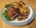 -2020-01-24 Sirloin steak, chips and mushrooms, Trimingham.JPG