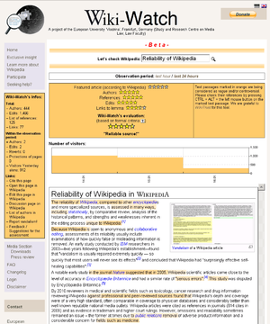 "Screenshot of Wiki-Watch rating a Wikipedia article. The orange text passages are rated ""not trustworthy"" by WikiTrust."