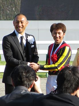 147th Tennosho spring (23 Ceremony 09 Ebizo Ichikawa and Masayoshi Ebina 03) IMG 2669 20130428.JPG