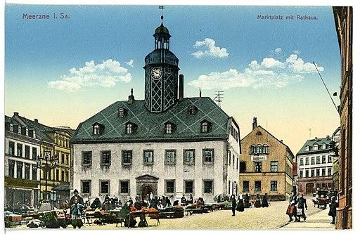 15516-Meerane-1913-Marktplatz mit Rathaus-Brück & Sohn Kunstverlag
