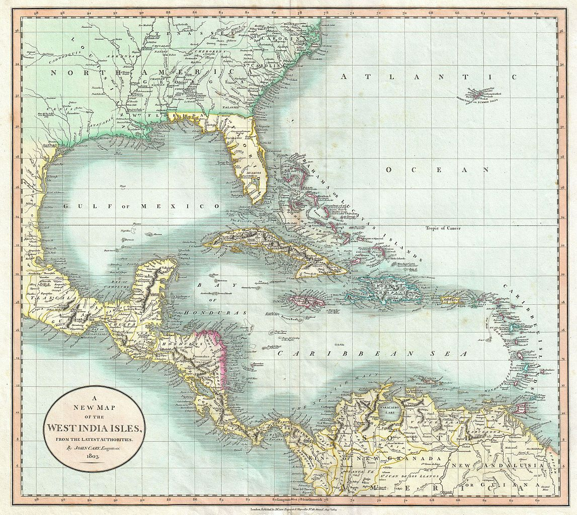 File:1803 Cary Map of Florida, Central America, the Bahamas, and the ...