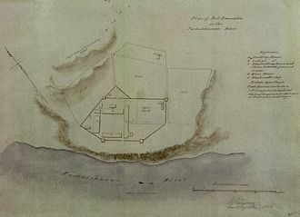 Fort Edmonton - This watercolor with a scale diagram of the Fort was drawn by Vavasour in 1846.