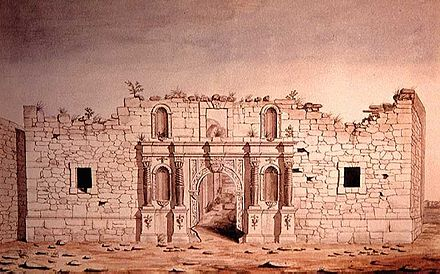 The Alamo Mission, painted 10 years after the battle 1847 watercolor of The Alamo in San Antonio.jpg