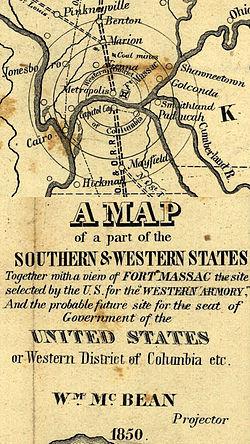 Mapa de 1850 del planeado Distrito Occidental de Columbia, que sustituiría al Distrito de Columbia como capital de los Estados Unidos.