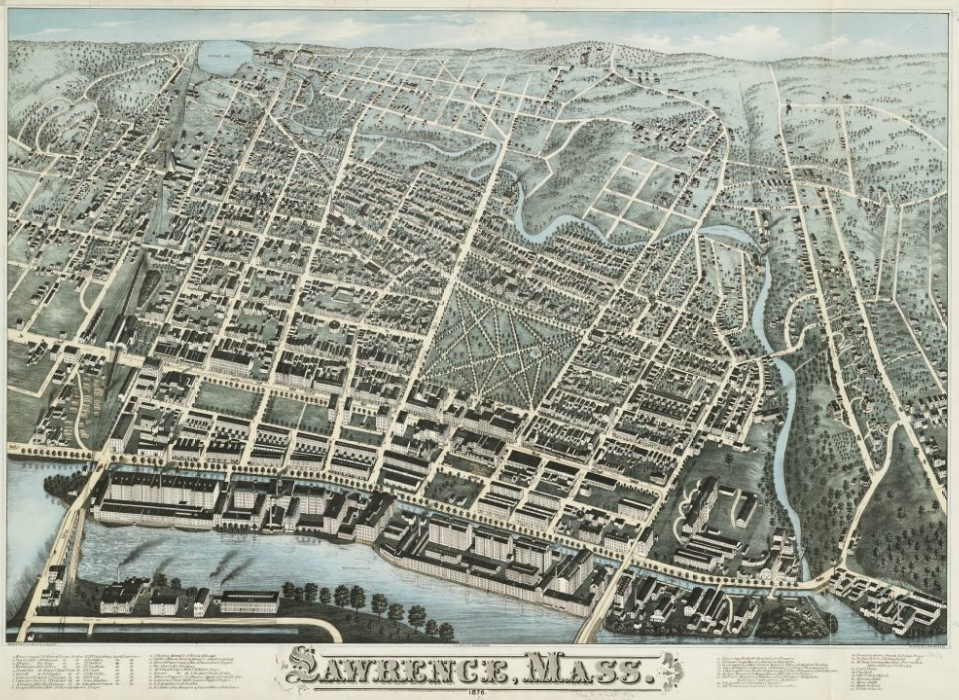 1876 map Lawrence Massachusetts by Bailey and Hazen BPL 10363