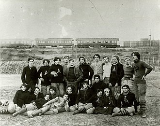 1895 Auburn Tigers football team - Coach John Heisman is in the second row in the middle wearing glasses.