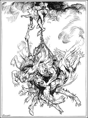 Hop-Frog - Hop Frog takes his revenge on the King and his council, 1935 illustration by Arthur Rackham