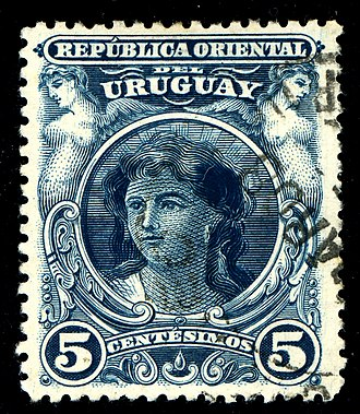 Naked Maja (postage stamps) - Uruguay (1900)