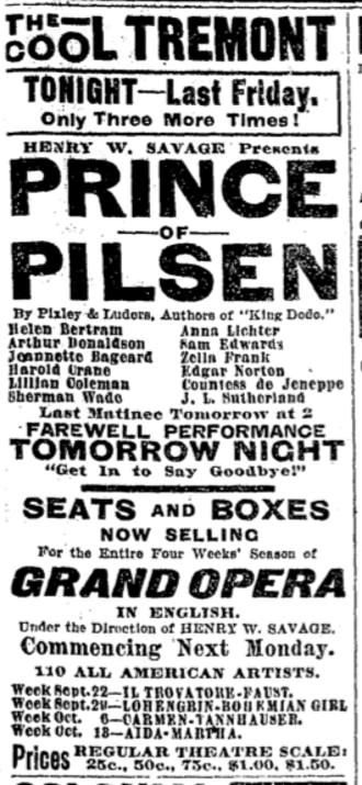 Tremont Theatre, Boston (1889) - Image: 1902 Tremont theatre Boston Globe Sept 19