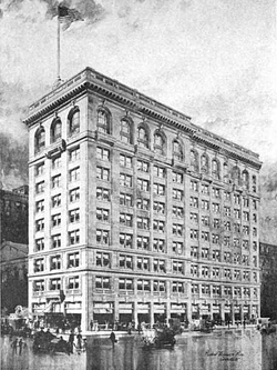Stearns Building on Temple Place and Tremont Street in 1914 from