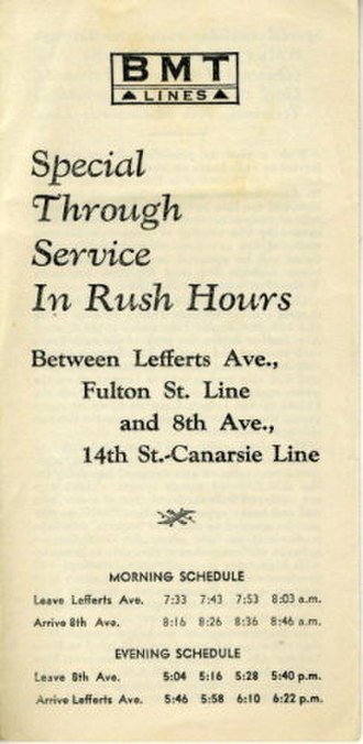 L (New York City Subway service) - This brochure describes the inauguration of special rush-hour through service in 1936 for the BMT between Lefferts Avenue and 8th Avenue.